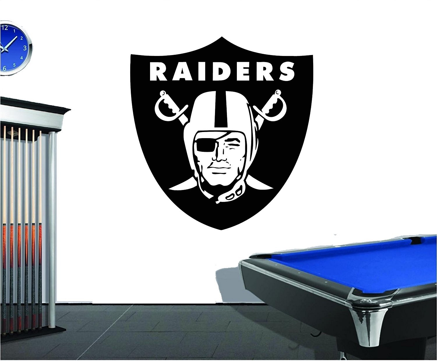 Oakland Very Large Raiders Vinyl Decal NFL Wall Sticker Emblem Football Team Logo Sport Home Interior Removable Decor (28'' x 30'')