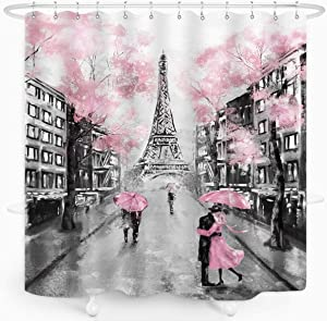 ZXMBF Paris Eiffel Tower Shower Curtain Oil Painting European France City Landscape Modern Couple Black Pink Tree Home Bathroom Décor Waterproof Fabric 72x72 Inch Plastic Hooks 12PCS