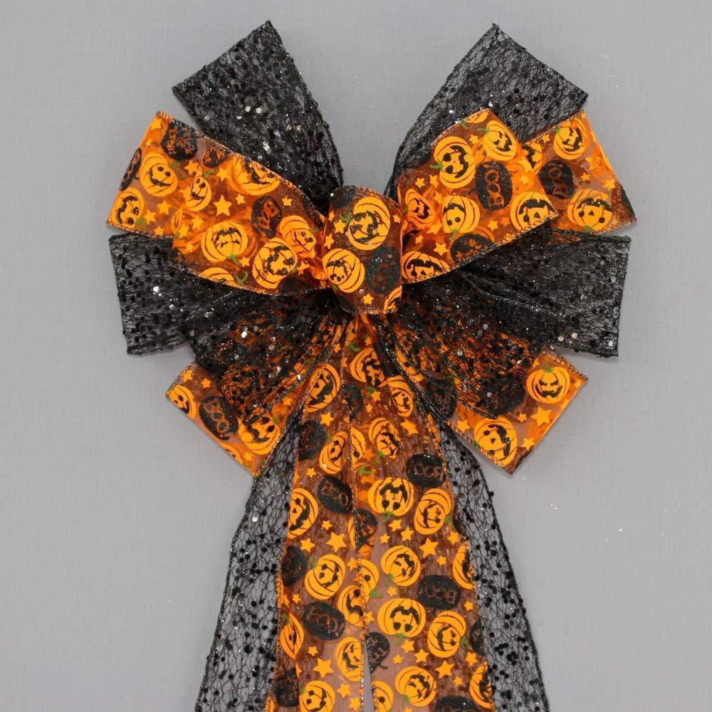 Pumpkin Black Mesh Halloween Wreath Bow - 10