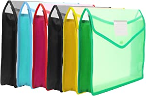 """B4 Size Plastic Wallet Folder Envelope, 6 Pack Plastic Folders with Closure and Pockets Expandable Envelope Wallet, Waterproof File Folders for School Office Home Organization, 14.4"""" x 11.4"""""""