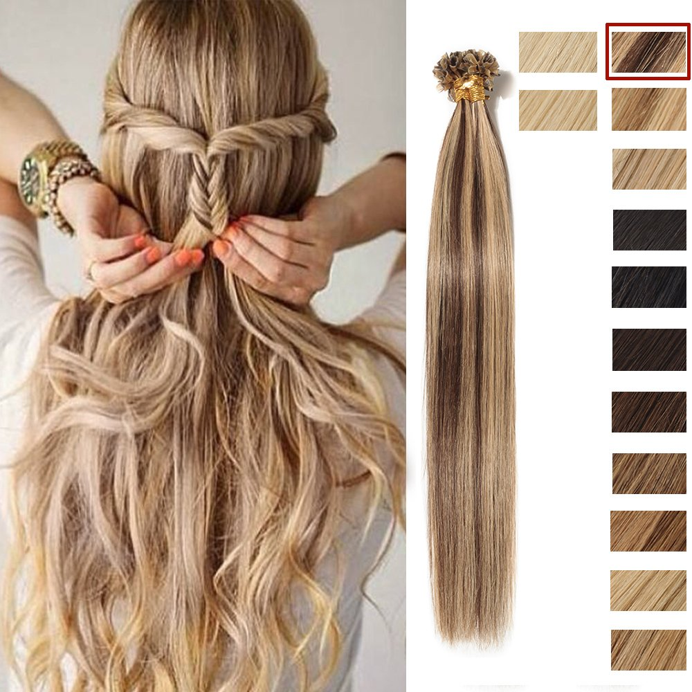 Extensiones Queratina de Cabello Natural Pre Bonded Nail Tip U-tip REMY Hair 20=50cm, 50g[0.5g*100 Mechas] [#2 Castaño Oscuro] Lady Outlet Mall