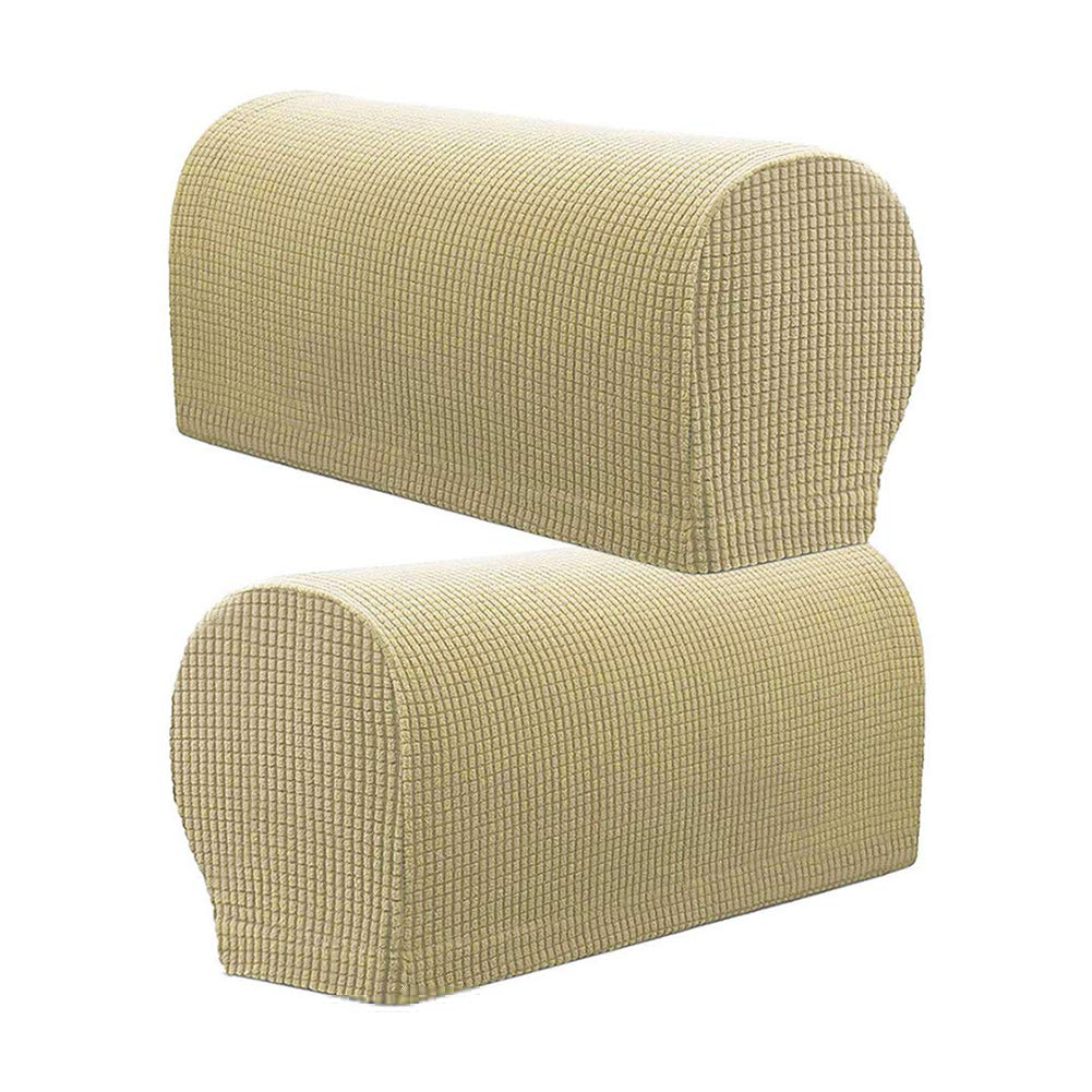 lightclub 2Pcs Furniture Sofa Armrest Cover Couch Chair Arm Case Mat Removable Protector Slip Cover for Chair, Loveseat, Sofa Yellow