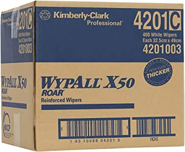 WypAll 4201 WypAll X50 Single Sheet Wipers, White, Case of 400 Wipers, White 4.640 kilograms