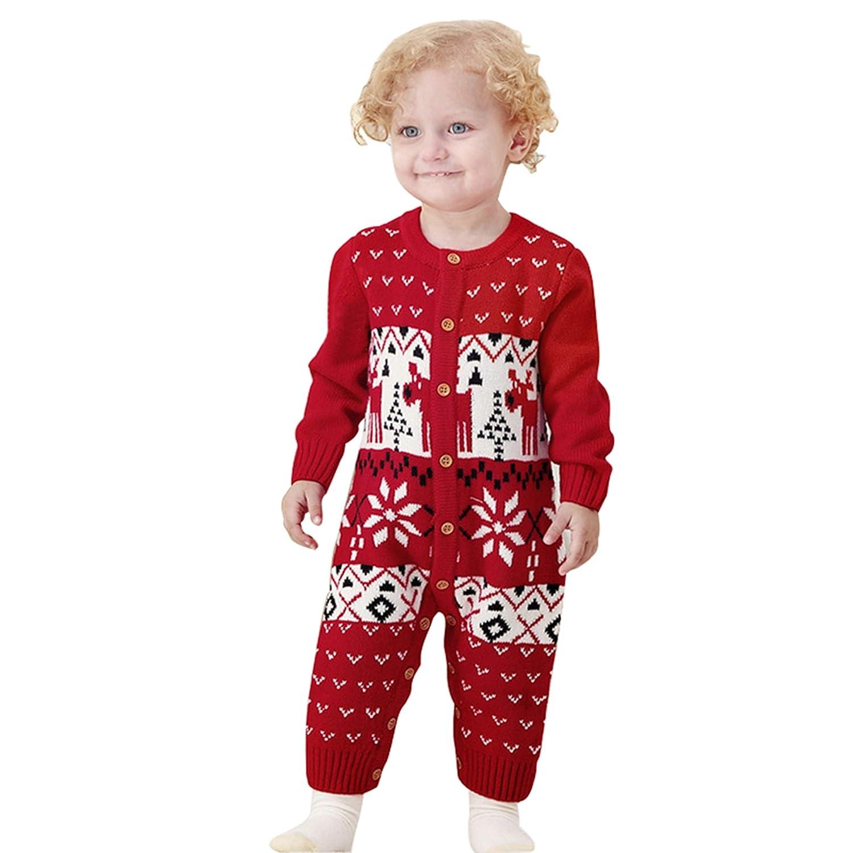 6e59860b14 JEELINBORE Suéter de Bebé Mono recién Nacido Unisex Jersey de Punto Navidad  de Manga Larga de Ciervo Jumpsuit (Rojo