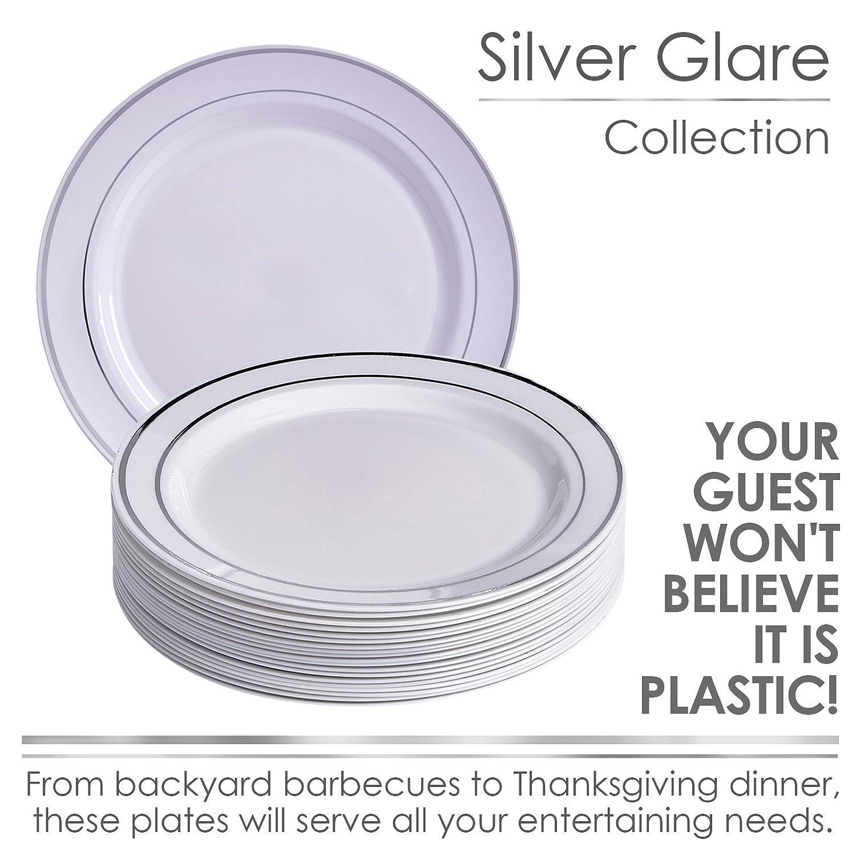 Plata brillo colección elegante China vajilla desechables plato redondo blanco con borde de plata (para bodas, fiestas y eventos - Peso pesado plástico ...