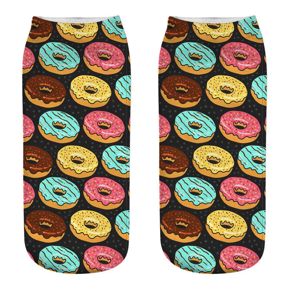 YOMXL Cute Donut Cartoon Crew Socks Casual Business 3D Digital Printing Socks Medium Sports Ankle Socks