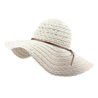 801805c299046 LAEMILIA Femme Chapeau Paille Eté Pliable Casual Lacet Panama Capeline  Chapeau Melon
