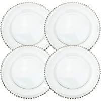 Ms Lovely Clear Glass Charger 12.6 Inch Dinner Plate with Beaded Rim - Set of 4 - Silver