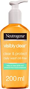 Neutrogena Face Wash, Visibly Clear, Clear & Protect, Oil-free, 200ml