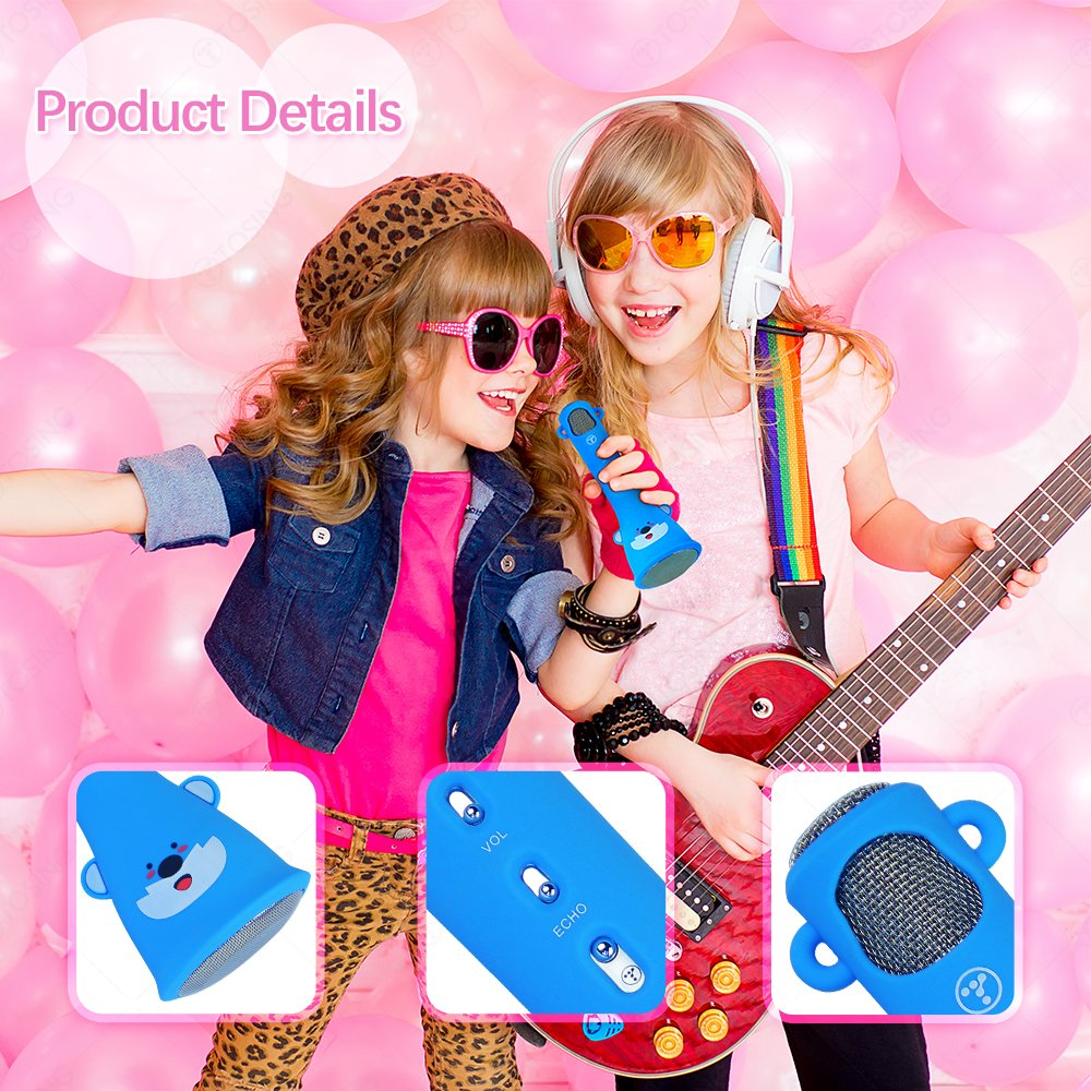 TOSING X3 Microphone for Kids Portable Wireless Microphones Karaoke with Bluetooth Speaker for Music Playing and Singing Machine System for iPhone/Android Smartphone/Tablet (Blue) by TOSING (Image #6)