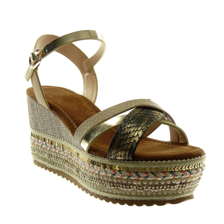Angkorly Damen Schuhe Sandalen Mule - Knöchelriemen - Plateauschuhe - Folk - Fantasy - Multi-Zaum - Schlangenhaut Keilabsatz High Heel 8.5 cm Beige