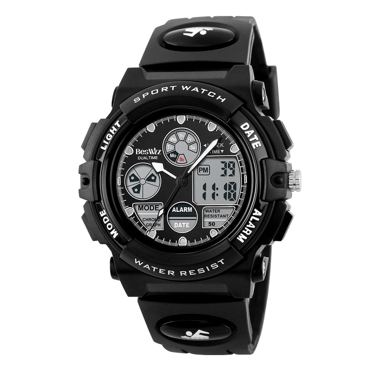 BesWLZ Boys Watches Multifunction Dual Time Digital Watches Alarm Sports Waterproof Kids Watches (Black)
