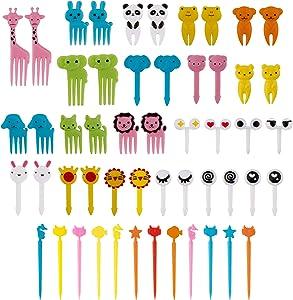 AIEX 52 Pcs Animal Food Picks Food-Grade Fork Picks for Kids Bento Box Decor Cute Mini Toothpicks for Children Adult Dessert, Fruit, Pastry, Children Party