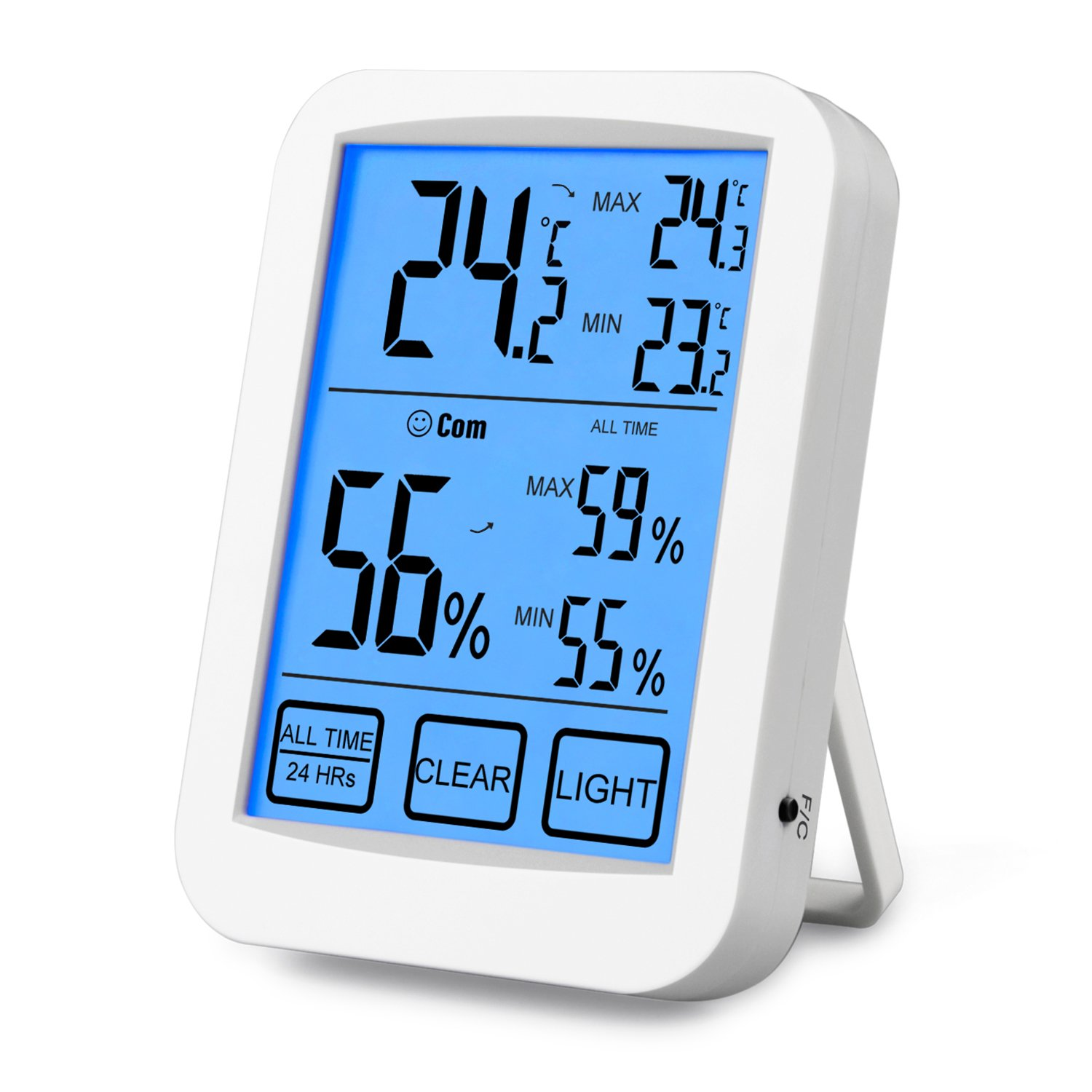 Digital Hygrometer Thermometer Indoor Thermo-hygrometer Monitor with Large LCD Display, Min/Max Records, Comfort Indicators, C/F Switch for Baby Room, Home, Office, Hospital,Greenhouse,Warehouse NeKan