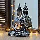 Buddha Statue silber mit Teelichthalter 33cm
