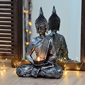 Bouddha Statuette Chinois 33cm Avec Chandelier Decoration Zen Pour Interieur Feng Shui