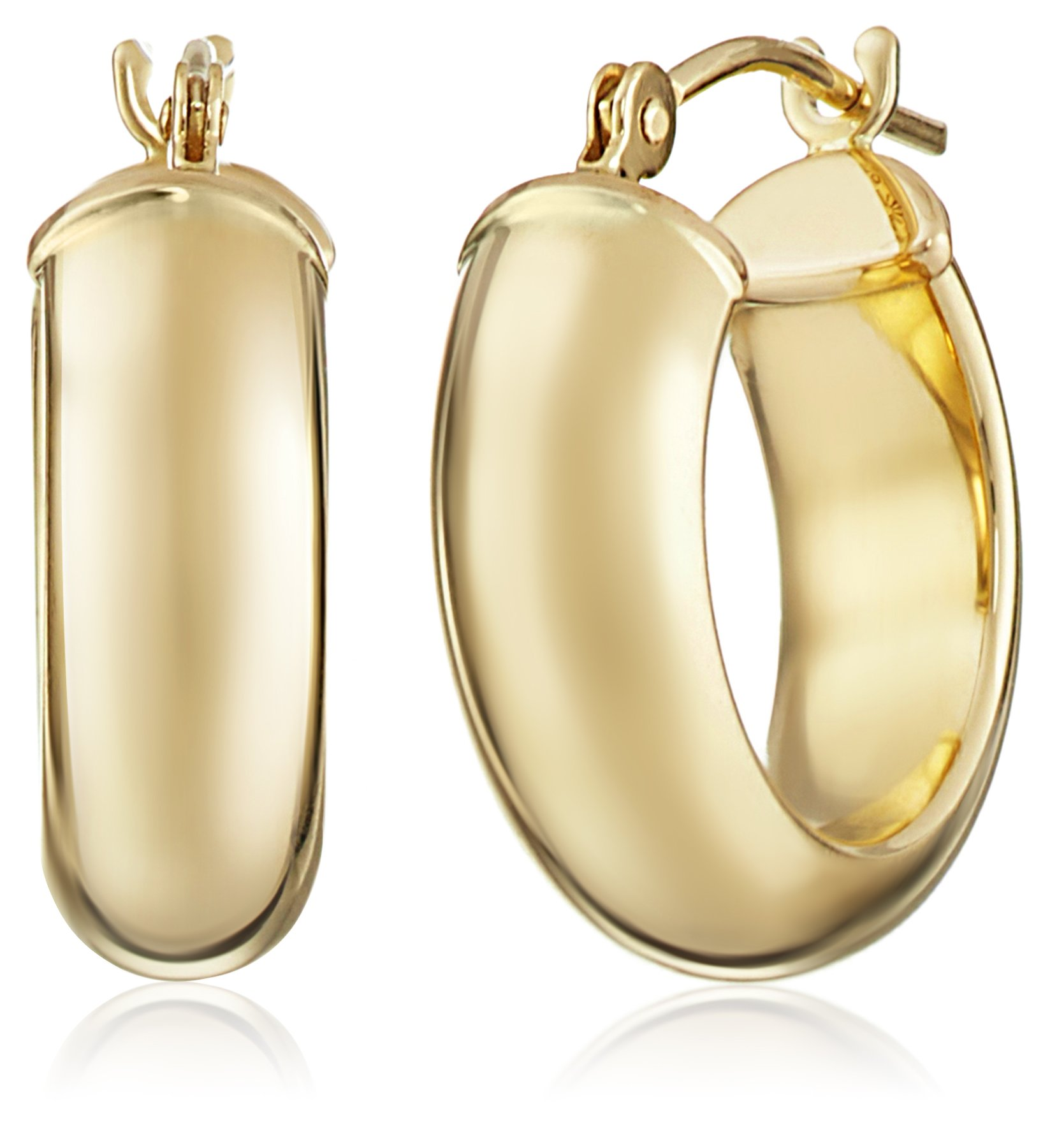 14k Yellow Duragold Hoop Earrings by Amazon Collection