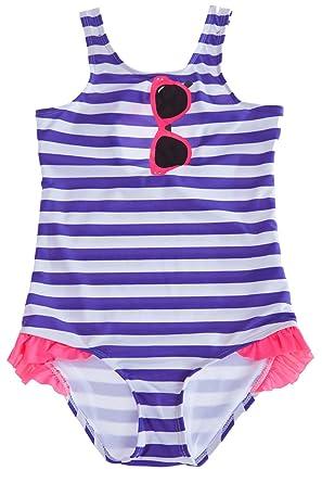 707427d9b1 CharmLeaks Girls Stripe One Piece Swimming Costumes Cute Glasses Swimsuit  Swimwear  Amazon.co.uk  Clothing