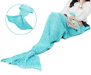 Tronisky Meerjungfrau Schwanz Decke Stricken Muster Meerjungfrau