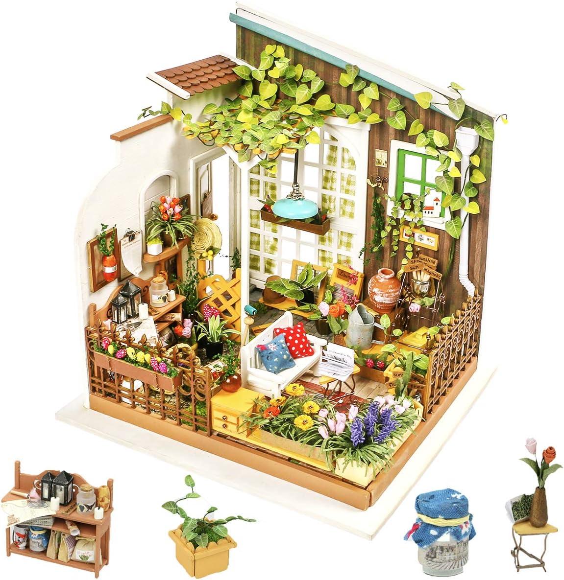 Rolife DIY Miniature Dollhouse Kit, 1:24 Scale Wooden Gardon Mini House Furniture for Women and Girls, Gift for Birthday/Christmas/Valentine (Miller's Gardon)