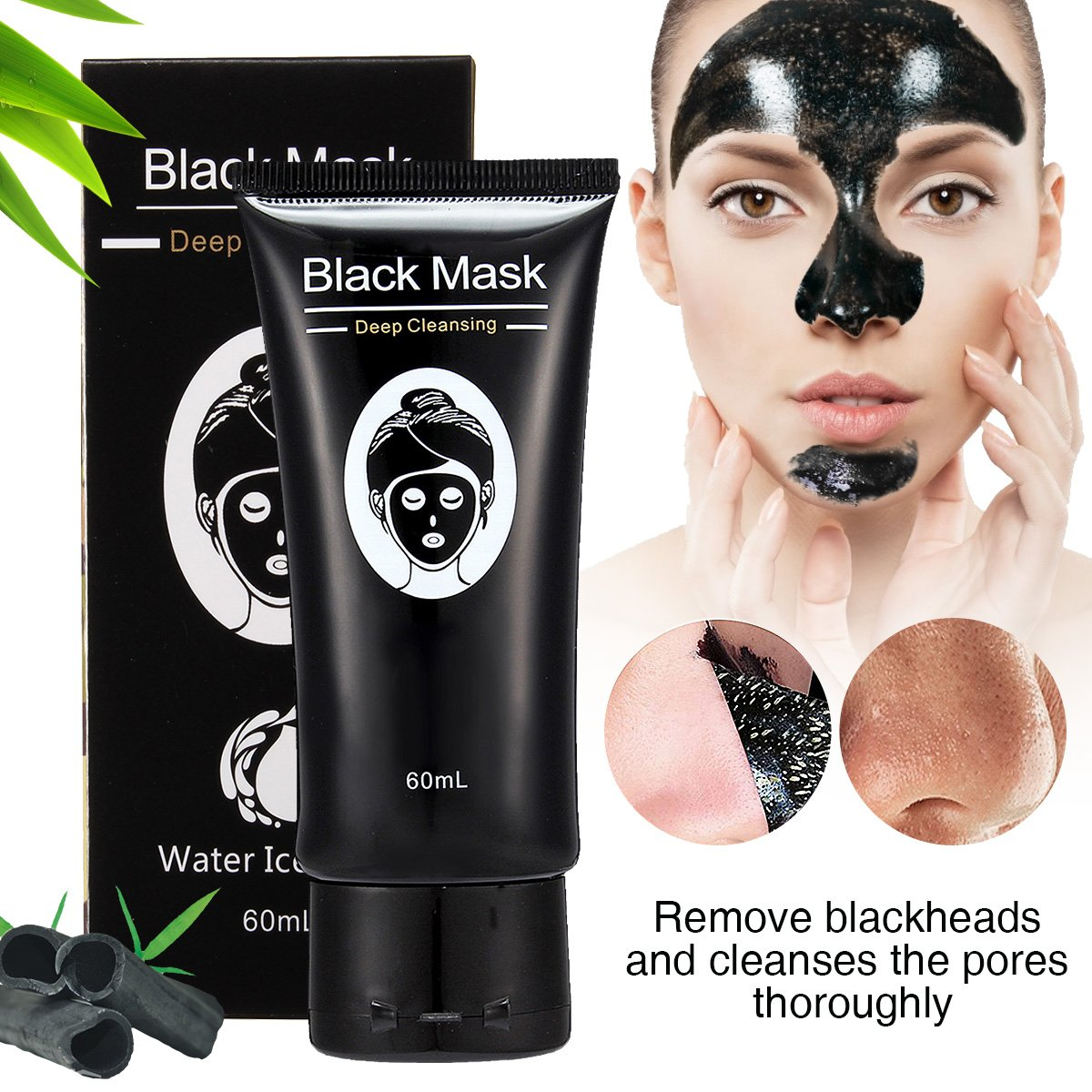 Blackhead Mask - LuckyFine Bamboo Charcoal Blackhead Remover Mask, Purifying Black Peel-off Mask