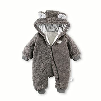 644ed7eb42e9 Amazon.com   Baby Boy Girl Cute Thick Warm Sherpa Hooded Romper Onesie  Jumpsuit Grey 12 months   Baby