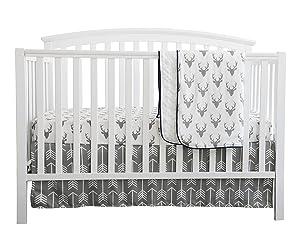 Baby Boy Crib Bedding White Grey Woodland Arrow Antlers Deer Head Minky Blanket Navy Crib Sheet Deer Buck Crib Rail Bedding Set (Grey Arrow Deer Head, 3 pieces set)