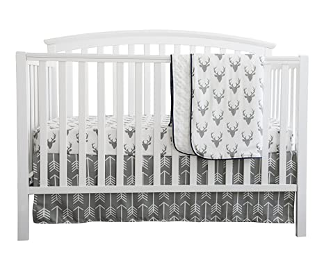64afc787e07a Baby Boy Crib Bedding White Grey Woodland Arrow Antlers Deer Head ...