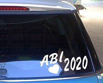 Cartattoo4you Ab 02265 Abi 2020 Mit Herz K Serie 20 X 10 Cm Farbe Weiß Glänzend In 23 Farben Erhältlich Autoaufkleber Aufkleber Car Sticker Heckscheibe Abitur Spruch Versand Frei Auto