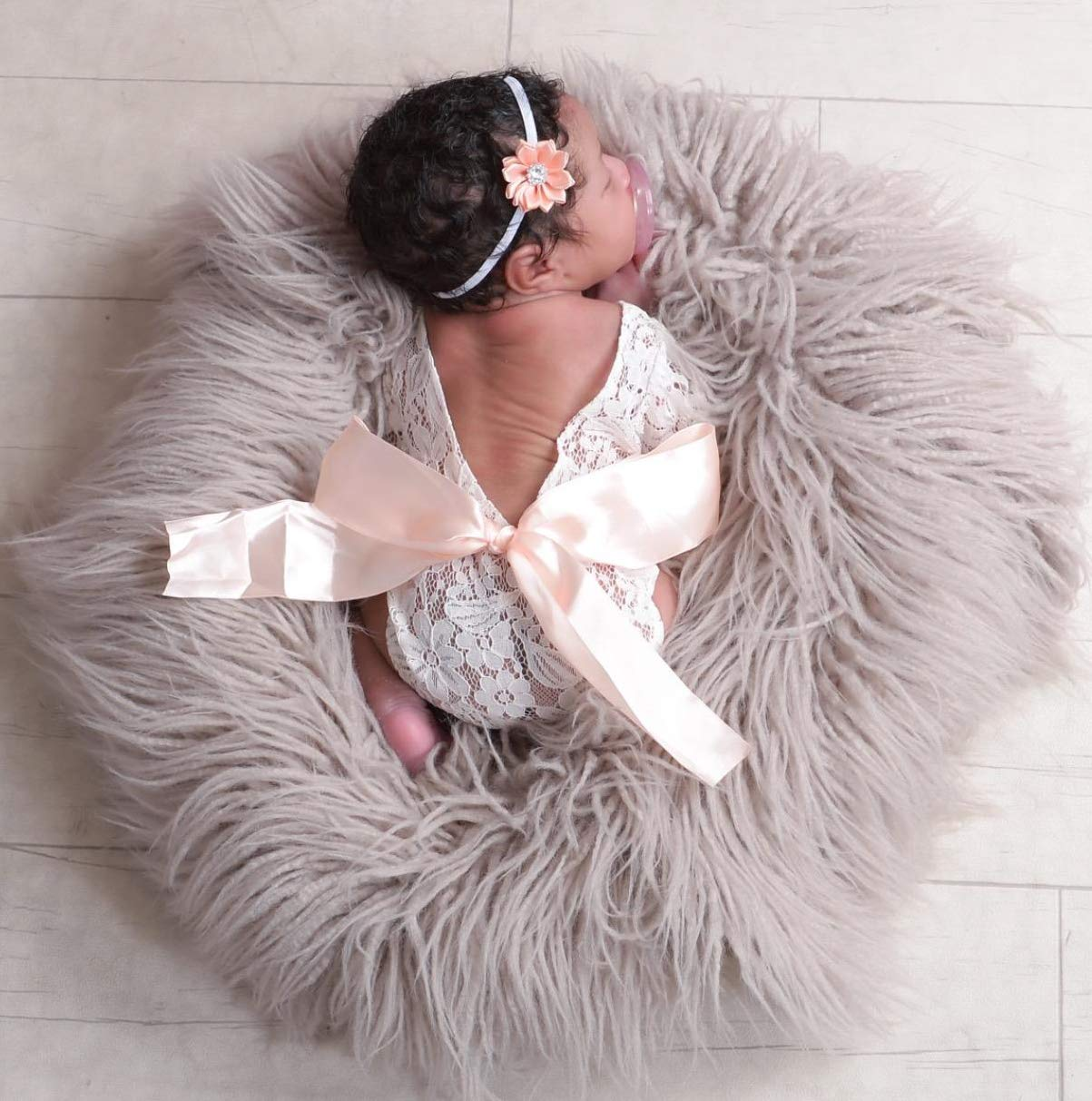 Newborn Lace Romper Baby Girl Outfit Photography Prop Vintage Newborn Romper with Ribbon Bow and Matching Headband by Little Moonpie