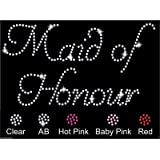 Maid Of Honour Wedding Diamante Rhinestone Transfer Iron on Maid Of Honour transfer