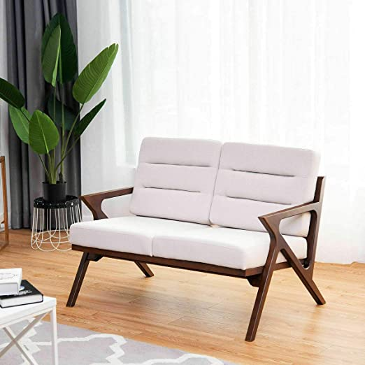 Amazon.com: KM Mart - Sofá de dos plazas de madera tapizada ...