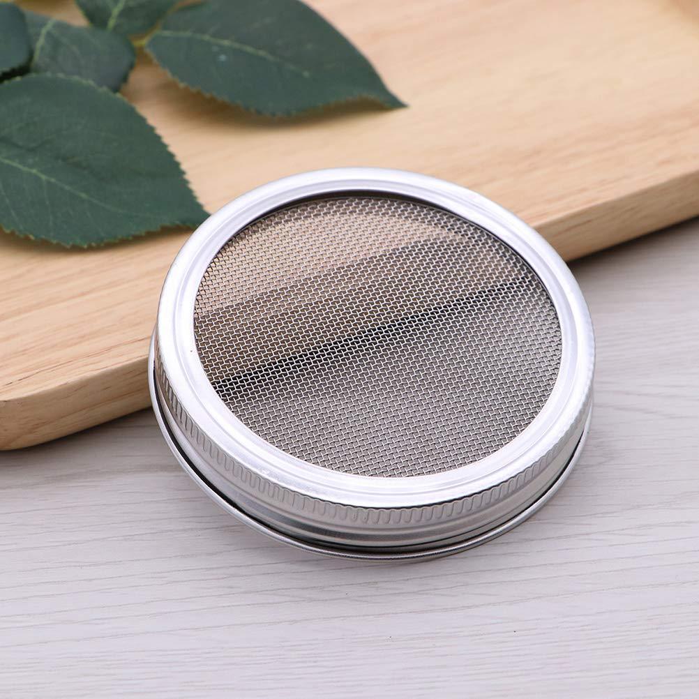 BESTONZON 4 piezas duraderas de semillas de acero inoxidable que brotan las tapas de brotes de pantalla para la boca redonda Frasco enlatado para botella 70 mm