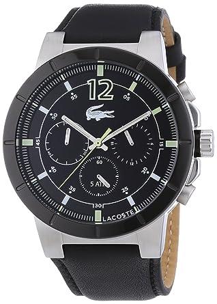 1bc2f21a46 Lacoste - 2010743 - Montre Homme - Quartz - Analogique - Chronomètre -  Bracelet Cuir Noir
