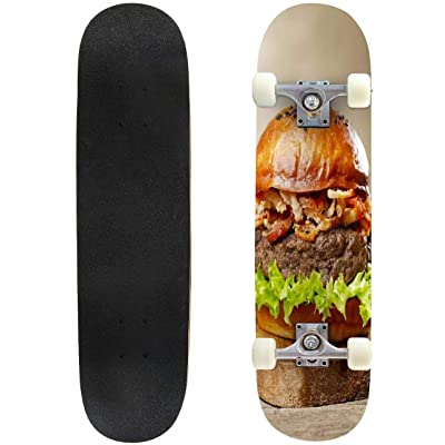 """Tiger Close ups and Pictures Outdoor Skateboard 31""""x8"""" Pro Complete Skate Board Cruiser 8 Layers Double Kick Concave Deck Maple Longboards for Youths Sports : Sports & Outdoors"""