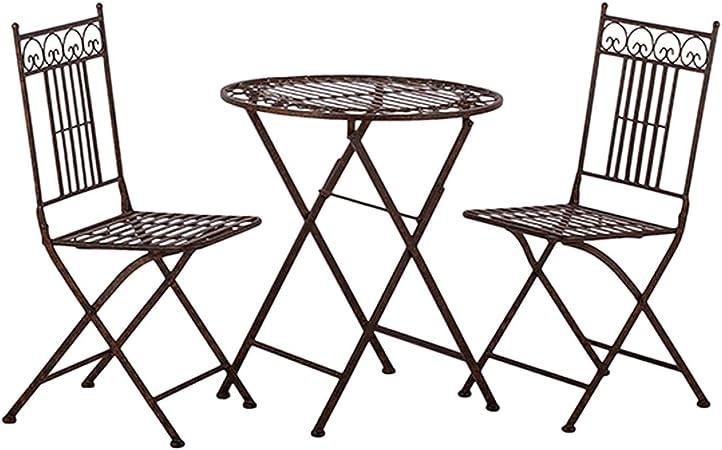Tisch mit 2 Stühle aus Metall Avis klappbar Sitzgruppe Metalltisch Garnitur Set