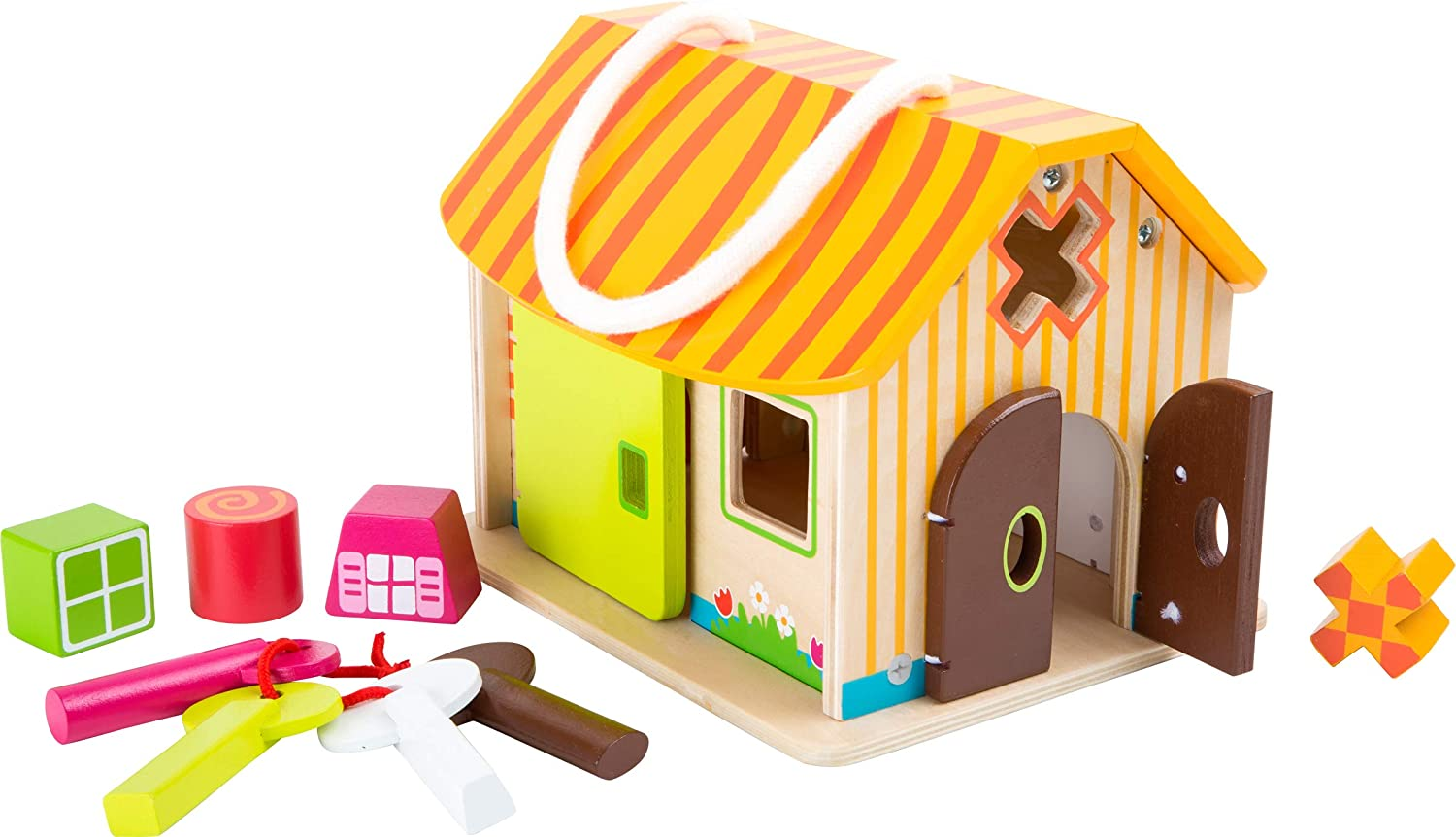 small foot wooden toys Wood Shed with Keys Motor Skills Playset Designed for Children 12+ Months