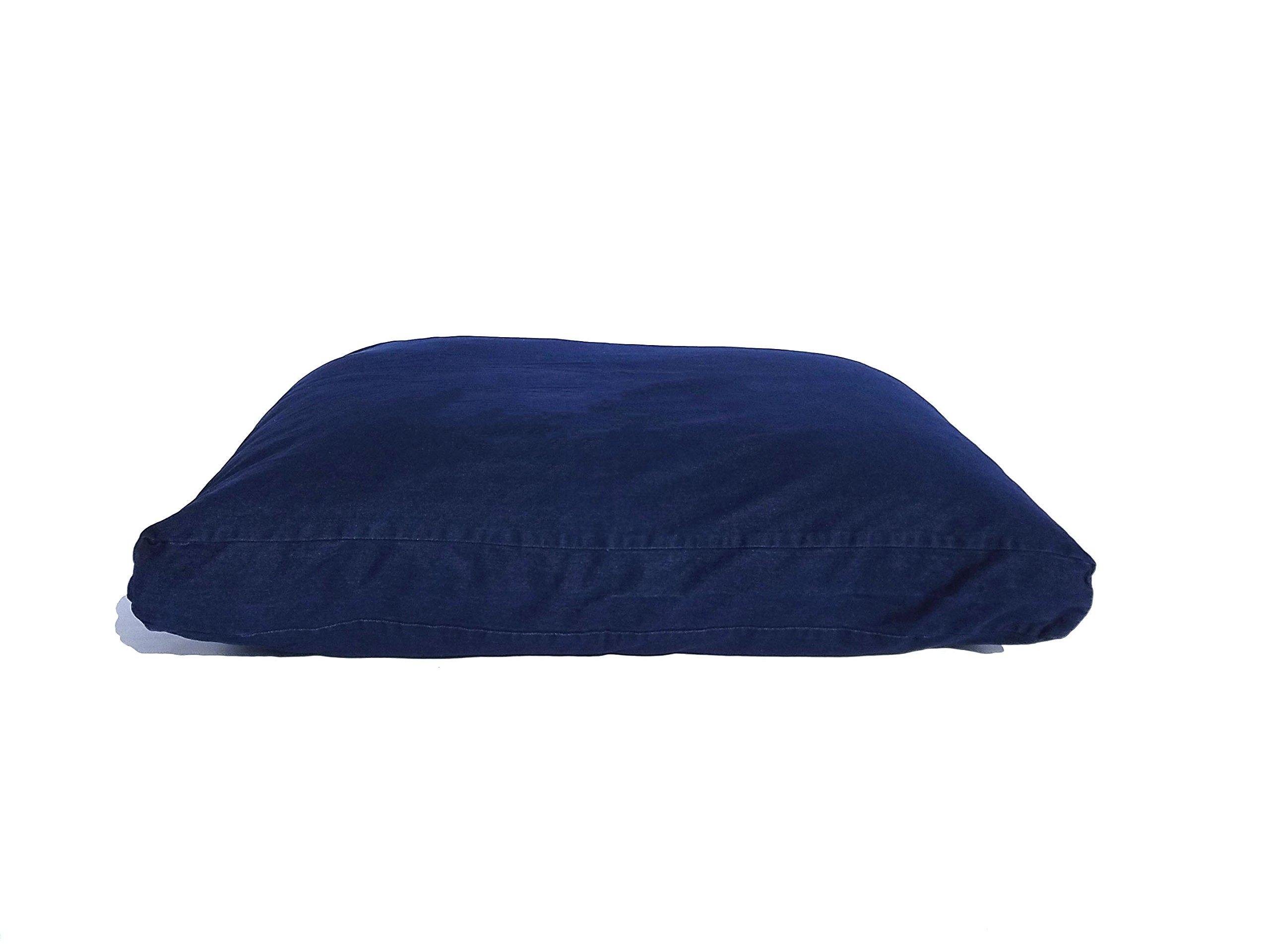 YAWP Memory Foam Pet Bed Pillow with Waterproof Internal Cover and Heavy Duty Denim Cover + Bonus Vacuum Storage Bag (55X37X4, Blue Jean Denim)