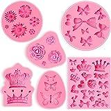 6 moldes para fondant, mini corona fondant, molde de silicona para fondant, molde de flores y chocolate, molde de mariposa, h