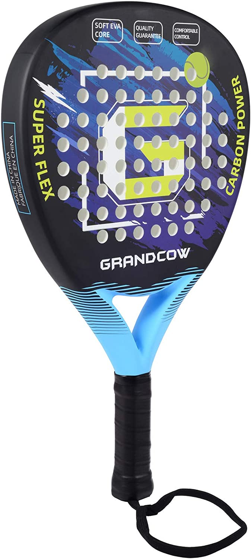 GRANDCOW POP Tennis Racket Paddle/Padel Carbon Fiber Surface with EVA Memory Flex Foam Core Diamond Shape POP Tennis Paddle Rackets