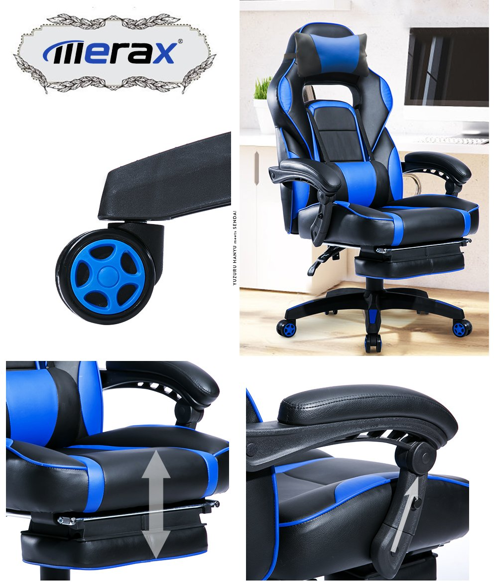 Merax Racing Desk Gaming Ergonomic Footrest and Adjustable Armrests Home Office Computer Chair Blue