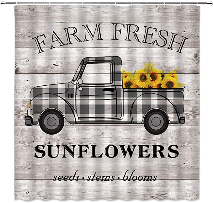 Checkered Truck and Sunflower Shower Curtain Bathroom Decor Fabric /& 12 Hooks