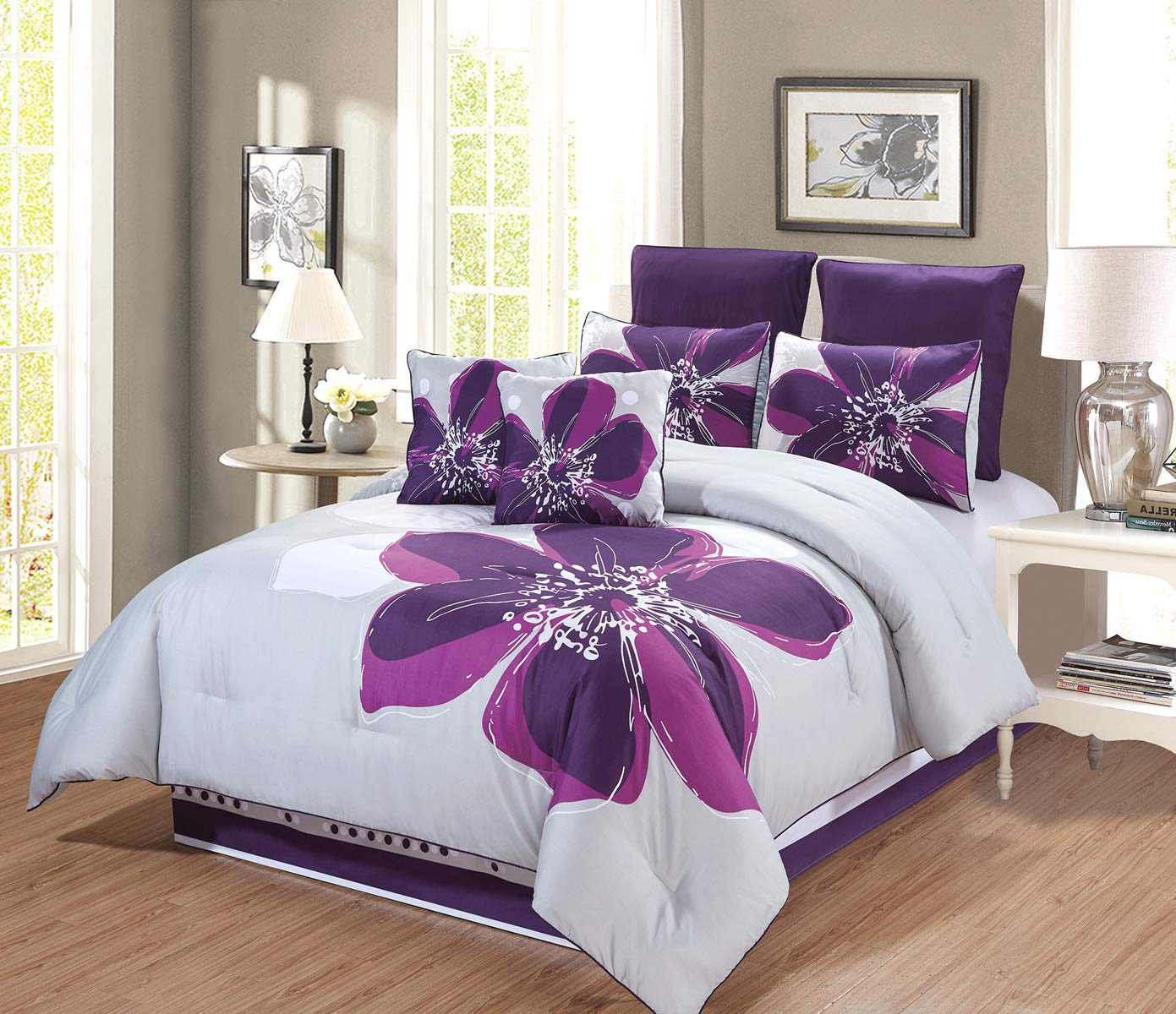 GrandLinen 8 - Piece Grey, Purple, Dark Purple Floral Comforter Set (Double) Full Size Bedding + Accent Pillows