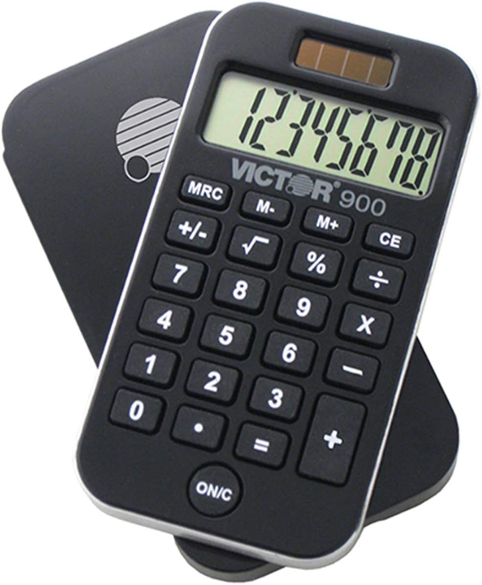 "Victor 900 Handheld Calculator, Black, 0.3"" x 2.5"" x 4.3"""