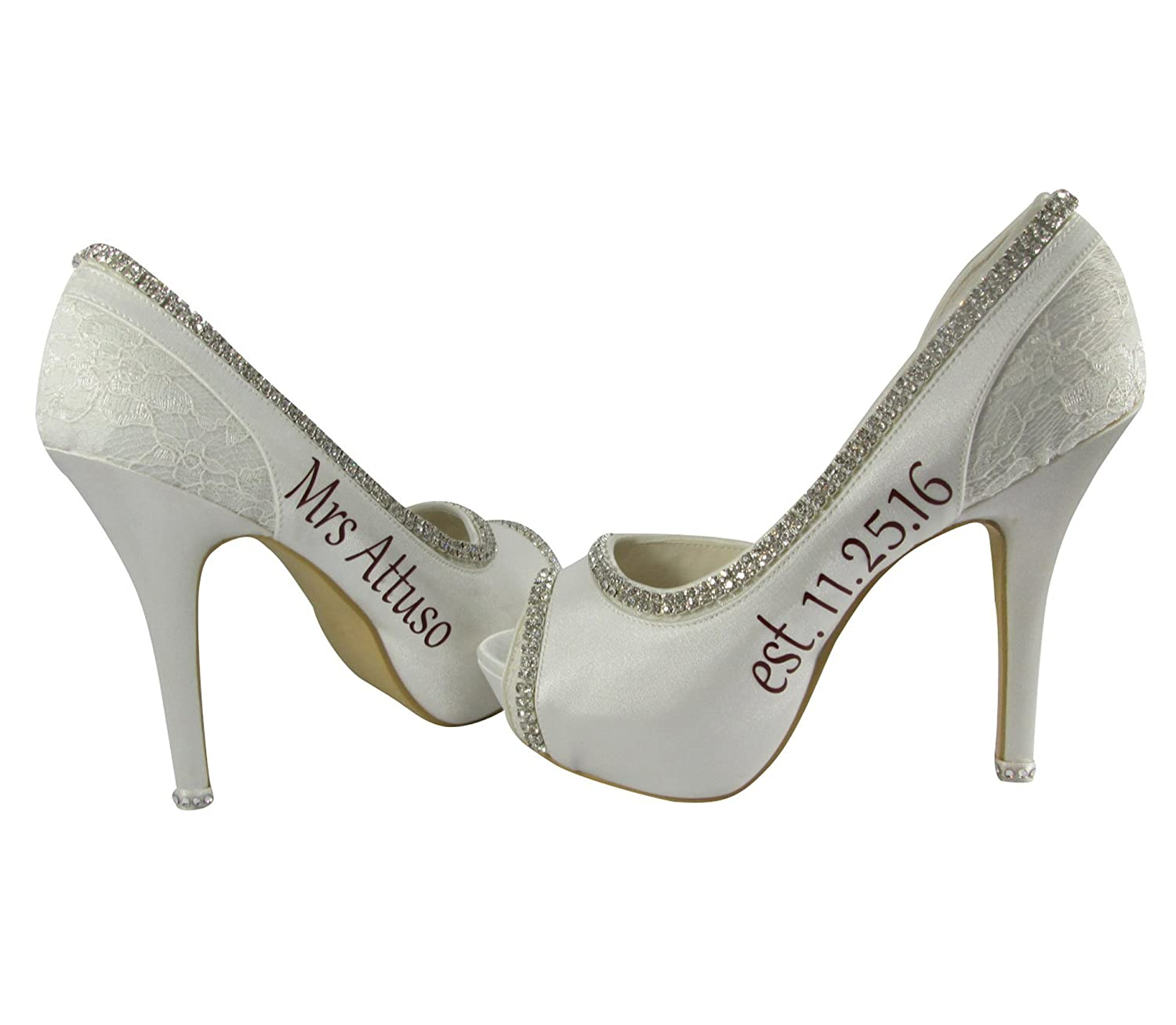 Lace & Satin Bridal Wedding Heels in 2 inch, 3.5 or 4.5 inch and Date