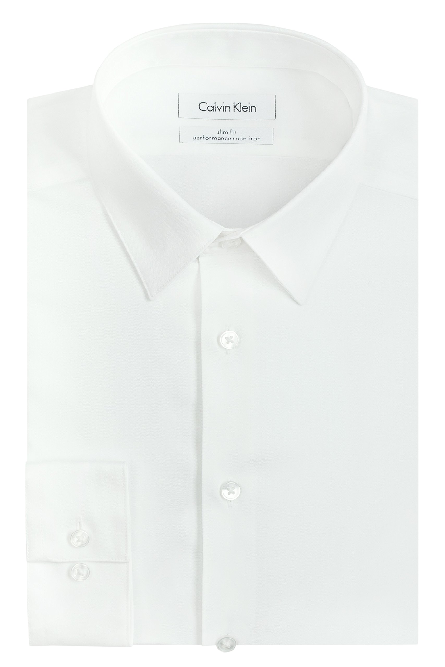 Calvin Klein Men's Slim Fit Non-Iron Herringbone Point Collar Dress Shirt, White, 15.5'' Neck 32''-33'' Sleeve