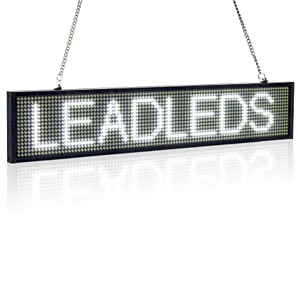 Cartel luminoso programable Leadleds para mensajes, diseño ultrafino P5mm, 16 x 96 píxeles, LED SMD, con desplazamiento, color blanco