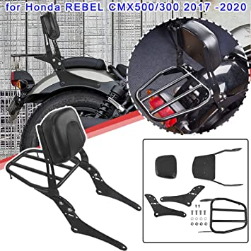 US Stock!! Lorababer Detachable Upright Passeneger Sissy Bar Backrest with Back Pad and Rear Luggage Rack for 2017-2020 Honda Rebel CMX500 CMX300 CMX 500 CMX 300 2018 2019 17 18 19 20