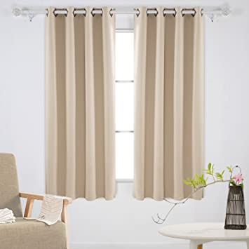 deconovo solid grommet curtains blackout panels thermal insulated room darkening curtains for study 52w x 63l