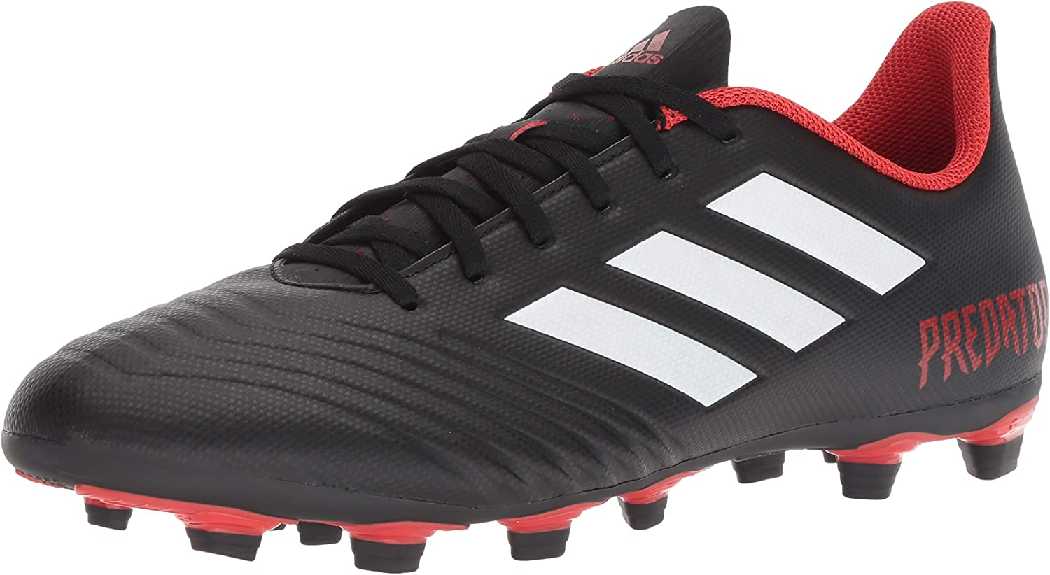 adidas Men's Predator 18.4 Firm Ground Soccer Shoe, Black/White/Red, 9 M US